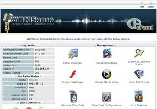 Captura de pantalla de la licencia de WHMSonic